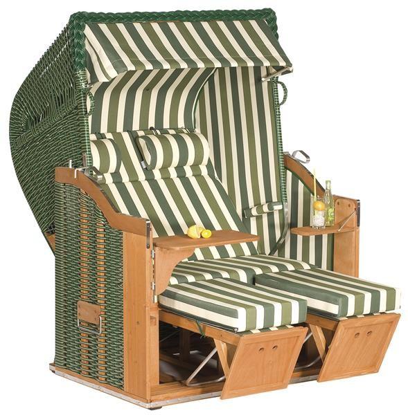 """Gartenstrandkorb """"Classic"""" 2-Sitzer, Halbliegemodell Kunststoffgeflecht grün mit beigen Nadelstreifen"""