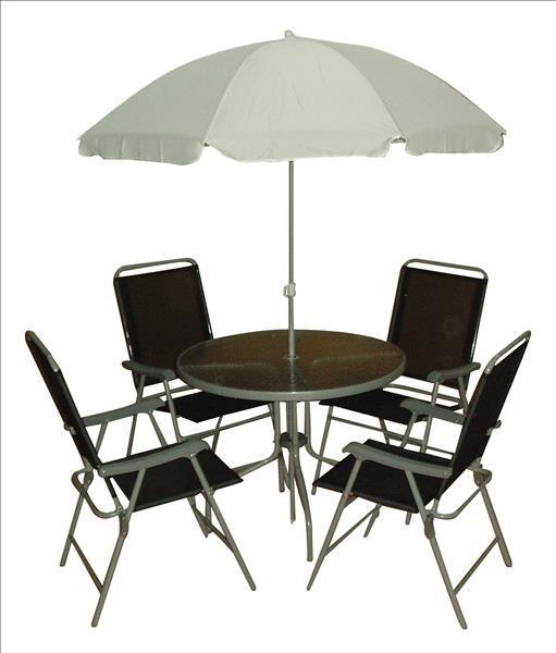 Tischgruppe SABA, Stahl m. Textilene 2x1