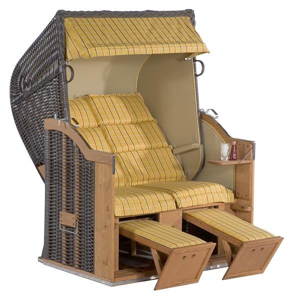 """Gartenstrandkorb """"Classic"""" 2-Sitzer, Halbliegemodell Kunststoffgeflecht Cappuccino"""