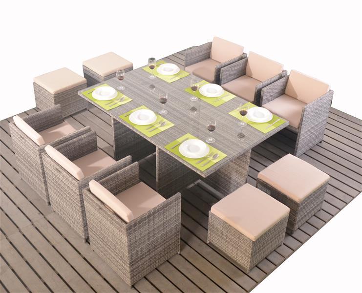 Polyrattan Tischset Würfel Cube Für 10 Personen Grau Deals Der